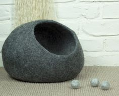 Grey Felted Wool Cat Cave   Grey Cat Bed   Felt Pet Bed   Wool Cat Pod   Cosy Cat Cocoon   Cat Den   Cat House   Kitty Cave