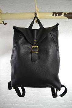 Anna Pugh Soft Leather Black Rugsack   The Mercantile London