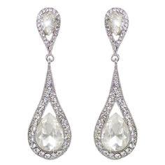 Elongated Tear Drop CZ Bridal Earrings