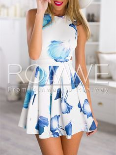 White Sleeveless Cut Out Floral Print Dress Mobile Site