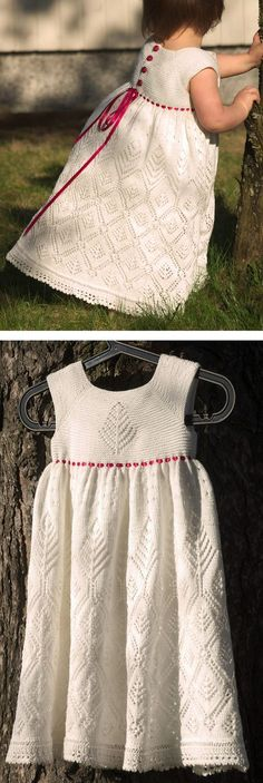 Free Knitting Pattern for Song of the Spruce Lace Dress for Babies and Children - Laulu kuusesta by Christa Becker features diamond-shaped lace motifs inspired by spruce trees. Sizes 0/3 – 6/12 – 24 – 36 months. Available in English, German, and Finnish. This would make a great christening or flower girl dress for a wedding!