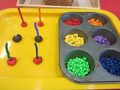 3k Beading onto pipe cleaners with play dough bases: easy adaptation to set-up for midline crossing/scanning/figure ground