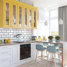 New Kitchen Accessories Decor Interior Design Home Ideas Kitchen Cabinet Colors, White Kitchen Cabinets, Kitchen Countertops, Kitchen White, Yellow Cupboards, Pastel Kitchen, Kitchen Appliances, New Kitchen, Kitchen Decor