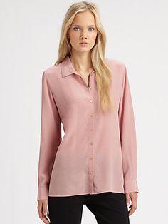 Eileen Fisher Silk Roll-Tab Blouse  Cute button-down blouse