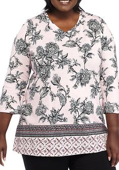 3dad7bda730 Kim Rogers® Plus Size Three-Quarter Sleeve WInter Mist Top Quarter Sleeve