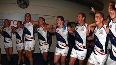 Adelaide Crows players sing their team song after beating Carlton at Etihad Stadium. Australian Football, Great Team, Crows, Football Team, Rugby, Cheer Skirts, Coaching, Singing, Songs