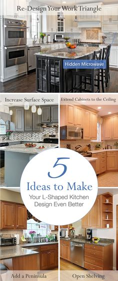 If you have an L-Shaped kitchen, you're in luck. This is one of the most functional kitchen layouts out there and it works extremely well with the contemporary open floor plan trend.