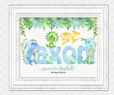 Custom name print for baby boy personalized dinosaurs nursery art kids room wall decor shower decoration digital print blue green poster Kids Artwork, Kids Room Art, Art For Kids, Dinosaur Room Decor, Dinosaur Nursery, Baby Room Wall Decor, Playroom Decor, Baby Girl Elephant, Baby Boy