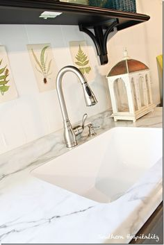 formica calcatta marble with undermount sink