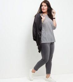 Curves Blue Stripe 3/4 Sleeve Top | New Look