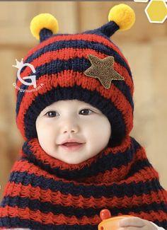 c18c6231a24 Niwota Bee Woolen Design Baby Infant Winter Warm Cap Hat Beanie with Scarf  Set