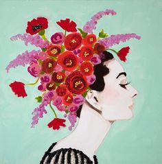 Audrey With Poppy Headdress crazy about ashley longshore