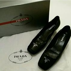 Prada shoes w/dust bag & box Gently worn authentic Prada shoes. Couple of scuffs/scrapes on  shoe (photo 2) & (photo 4). Overall good condition, however , these are not brand new. I bought these but only wore them a few times. Prada Shoes