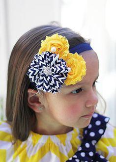 The Hair Bow Company | Yellow and Navy Chevron Shabby Flower Headband