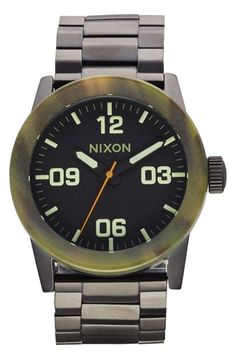 Nixon 'The Private' Camo Bezel Bracelet Watch, 42mm available at #Nordstrom