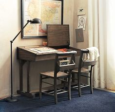 I love this desk... i can see my kids doing homework at it in the future!! Rowley Double Desk | Desks & Vanities | Restoration Hardware Baby & Child