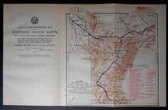 1915 Railroad Map Bozeman, Livingston, Gardiner, Tregloan, Springdale, Gallatin Range Montana MT. Northern Pacific Rail Antique. Map Vintage