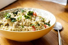Paleo-Friendly Fried Rice (with Cauliflower) - cauliflower, white mushrooms, onion, tomatoes, egg, egg white, coconut oil, soy sauce, salt & pepper, chopped basil & mint