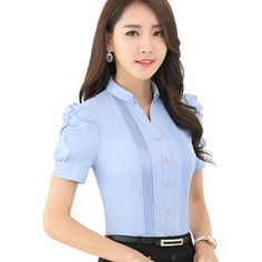 V-Neck Short Sleeve Slim Women Shirt Ol Formal Business Puff Sleeve Chiffon Blouse Office Ladies Plus Size Wor Wear Tops Manga Shop, Blouse Styles, Blouse Designs, Modele Hijab, Formal Shirts, Office Ladies, Plus Size Tops, Blouses For Women, Work Wear
