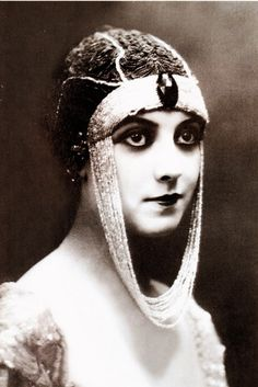 """Theda Bara, actress known as """"The Vamp""""; born in Cincinnati, OH on 7/29/1885 (pictured early 1910′s, Musidora.)  Birth name Theodora Burr Goodman"""