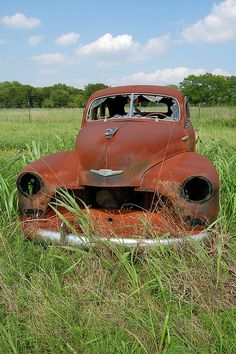 Rusty Chevy from the Danny Zuko, Classic Chevy Trucks, Classic Cars, Abandoned Cars, Abandoned Vehicles, Vintage Cars, Antique Cars, Rust In Peace, Rusty Cars