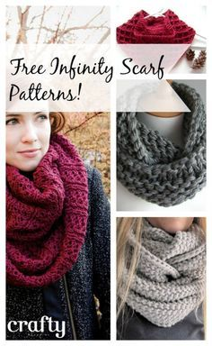 The Infinity Scarf - Free patterns to knit or crochet. #knitting #knit