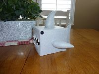 shark valentines card box made from a tissue box and felt