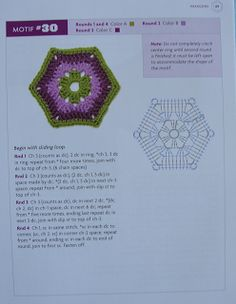 """ MOSSITA BELLA PATRONES Y GRÁFICOS CROCHET "": Hexagons Beyond the Square Crochet Motif #31-46"