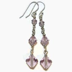 Swarovski Crystal Earrings Link Sterling Silver by JoannGirls. $11.99, via Etsy.