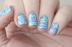 Blue purple and white tribal nails