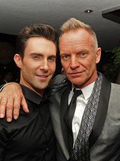 Musicians Adam Levine, left, and Sting.