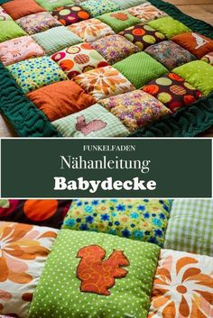 Nähanleitung Babydecke nähen / Patchworkdecke Free sewing instructions for a baby blanket as patchwork blanket including tips for sewing and for your own appliqués. Patchwork Blanket, Patchwork Baby, Patchwork Quilting, How To Sew Baby Blanket, Easy Baby Blanket, Quilt Baby, Baby Sewing, Free Sewing, Diy Bebe
