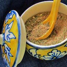 Tom's Blackened Seasoning Recipe with paprika, dried thyme, onion powder, garlic powder, white sugar, salt, black pepper, cayenne pepper, dried oregano, ground nutmeg, ground cumin