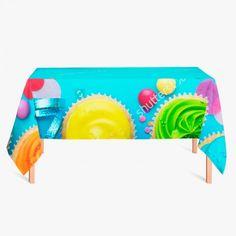 Tafelkleed Cupcake Party   Fleur je keuken op met dit weerbestendige tafelkleed bestaande uit geweven linnen met PVC.   #tafelkleed #keukentextiel #keuken #kleed #pvc #print #opdruk #tafel #weerbestendig #cupcakes #feestje #cupcake #kleurrijk #kinderfeest