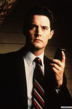 Kyle MacLachlan as Special Agent Dale Cooper in Twin Peaks.  I'm re-watching Twin Peaks - I always forget that Kyle is luminous & enthralling in this - I can't take my eyes off him.