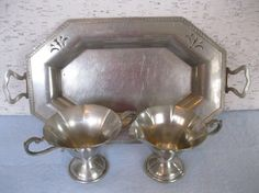 Pewter Serving Set / Sugar and Creamer With Serving by fiordalis