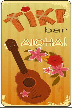 Aloha Tiki Bar Vintage Decorative Metal Sign