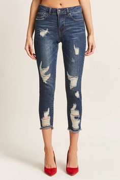 9929daf11 Product Name:Distressed Ankle Jeans, Category:CLEARANCE_ZERO, Price:35 Calça  Capri