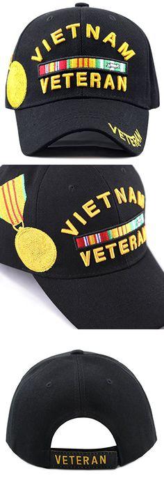 THE HAT DEPOT 1100 Official Licensed Vietnam Veteran 3D Baseball Cap (Black)