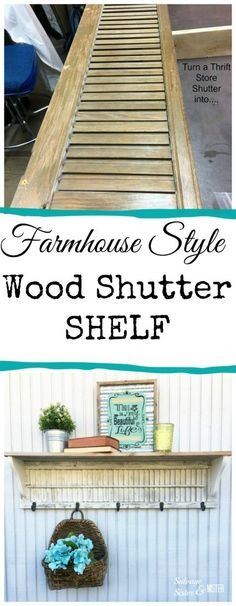 Farmhouse style diy wood shutter shelf from a thrift store find. Farmhouse style diy wood shutter shelf from a thrift store find. Farmhouse Style Diy, Shutter Shelf, Furniture Diy, Wood Diy, Upcycled Home Decor, Thrifting, Shutters Repurposed Decor, Upcycle Decor, Farmhouse Furniture