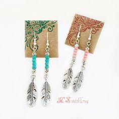 Feather Earrings, Turquoise Earrings, Pink Earrings, Blue Sea Earrings, Indie earrings, Boho Gypsy earrings, Minimalist Earrings