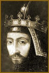 John of Gaunt (1340 - 1399 ). The rich and powerful Plantagenet prince. His liaison with a commoner called Katherine Swynford produced four illegitimate children who were given the name Beaufort  ( He married Katherine in 1396 and their children, by this time adults, were legitimised).Their son John was the Great-Great Grandfather of King Henry VIII of England.