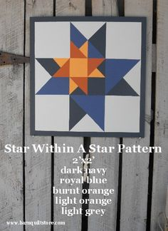 barn+quilt+patterns+star+within+a+star | Painted Wood Barn Quilt Star Within A Star by TheBarnQuiltStore