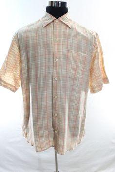 Tommy Bahama Shirt Mens Medium Button Front Orange Beige Short sleeve linen #TommyBahama #ButtonFront