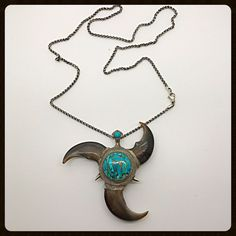 Handmade Bear Claws Amp Turquoise Stone Silver Necklace | eBay
