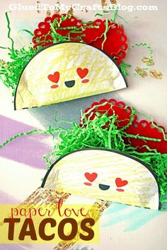 Let's TACO 'bout how good this Paper Love Taco kid craft idea really is! Inspired by own love of tacos, these food themed pieces are sure to be a BIG hit! Free Printable Template included to get you started with ease! Taco Crafts, Kids Food Crafts, Valentine's Day Crafts For Kids, Valentine Crafts For Kids, Camping Crafts, Valentines Day Party, Toddler Crafts, Art For Kids, Summer Kid Crafts