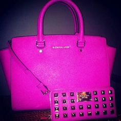 Pink Michael kors purse and studded wallet