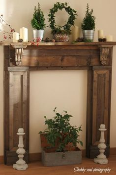 Home Remodel Ideas Shabby Soul: Our Faux Fireplace and a question Faux Foyer, Faux Mantle, Faux Fireplace Mantels, Fireplace Frame, Build A Fireplace, Fireplace Surrounds, Decorative Fireplace, Wooden Fireplace, Fireplace Remodel