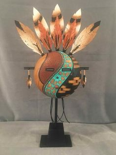 Native American Masks, Native American Pottery, Pottery Painting Designs, Arte Tribal, Spirited Art, Painted Gourds, Cardboard Art, Southwest Art, Animal Masks