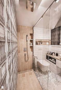 Projekt mieszkania w Łodzi 65 m2 - Mała łazienka, styl skandynawski - zdjęcie od BIBI